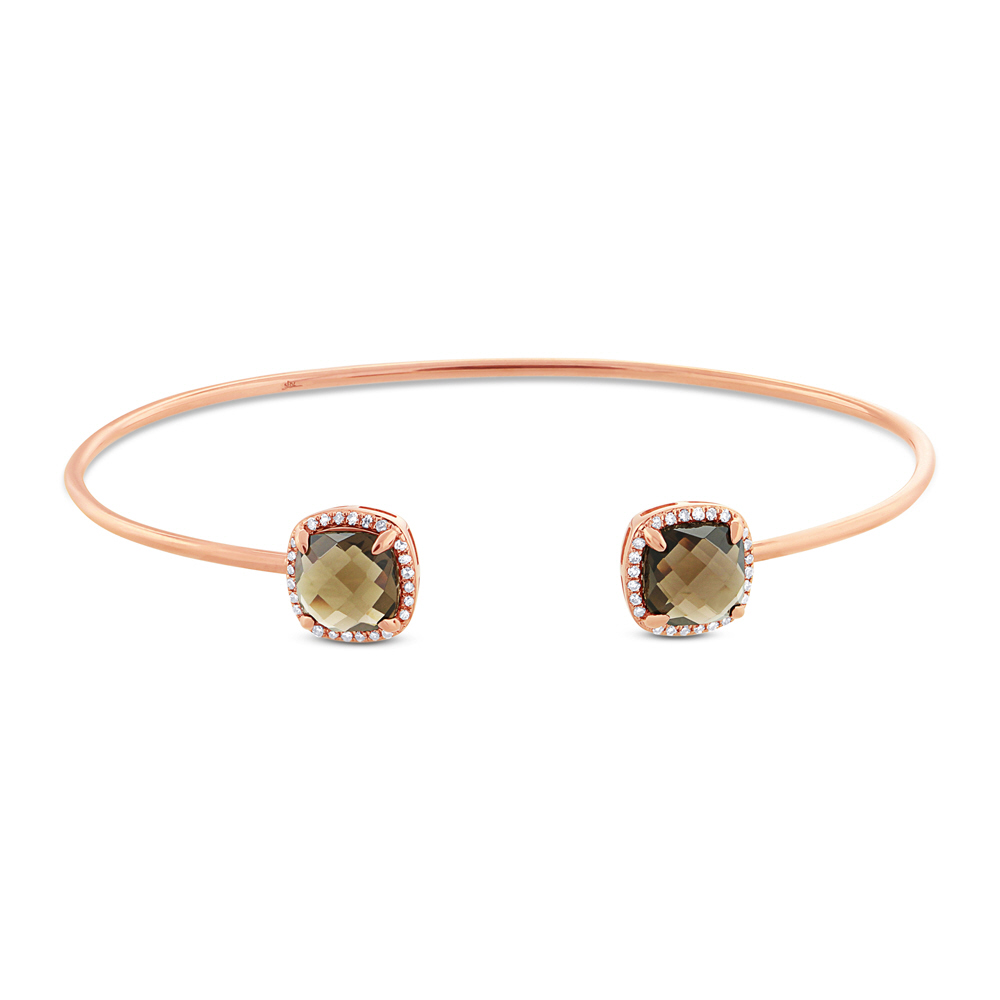 0.14ct Diamond & 3.30ct Smokey Topaz 14k Rose Gold Bangle