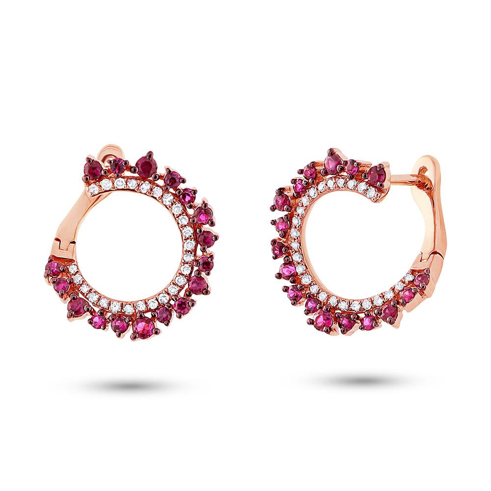 0.20ct Diamond & 0.67ct Ruby 14k Rose Gold Earrings