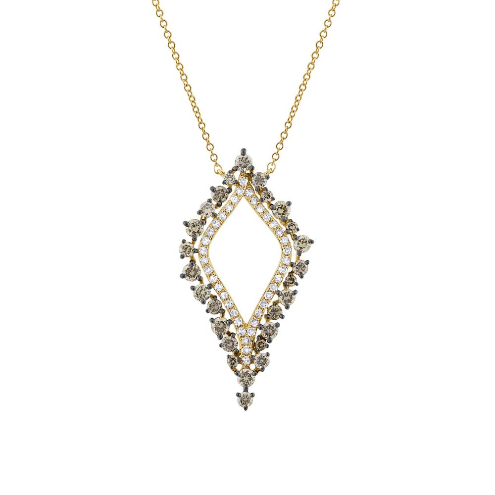 0.94ct 14k Yellow Gold White & Champagne Diamond Necklace