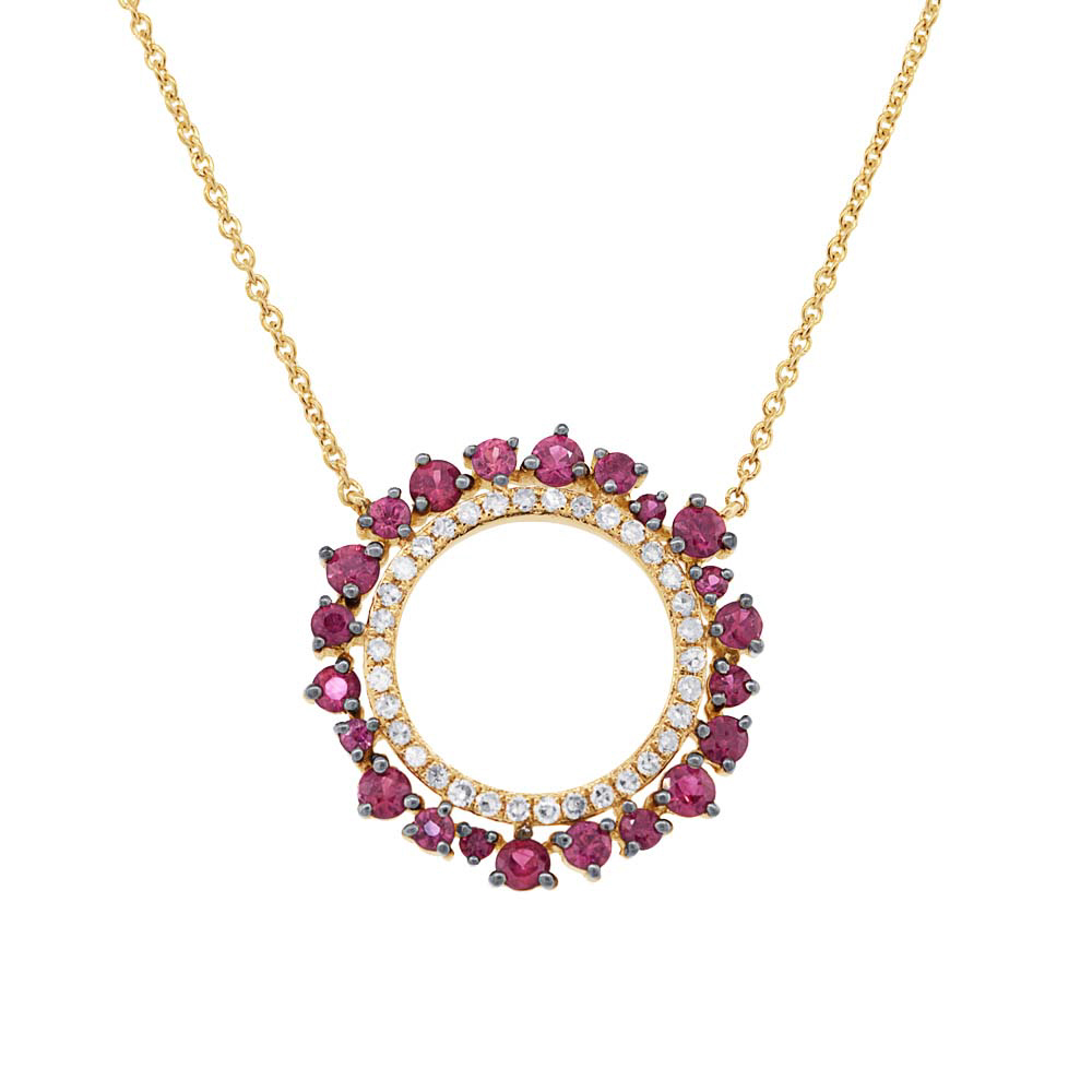 0.17ct Diamond & 0.78ct Ruby 14k Yellow Gold Necklace