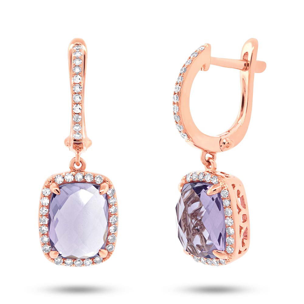 0.36ct Diamond & 4.34ct Amethyst 14k Rose Gold Earrings
