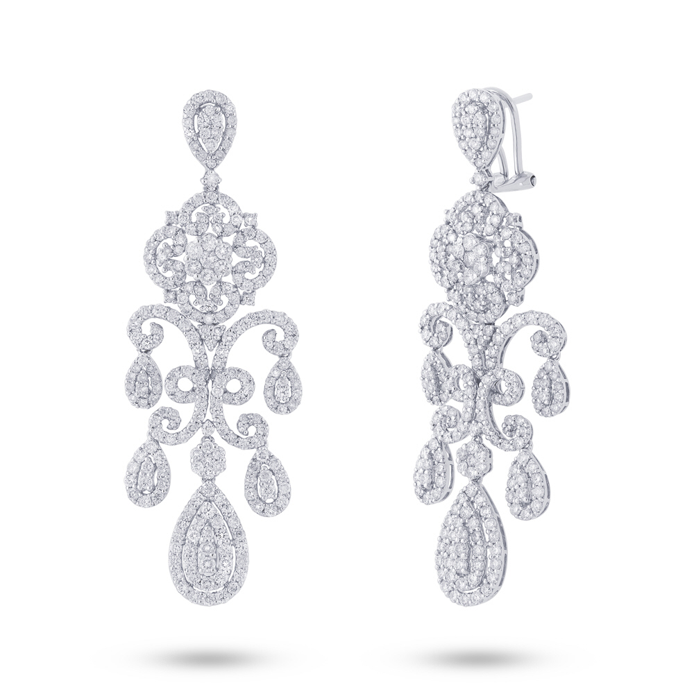 7.06ct 18k White Gold Diamond Chandelier Earrings