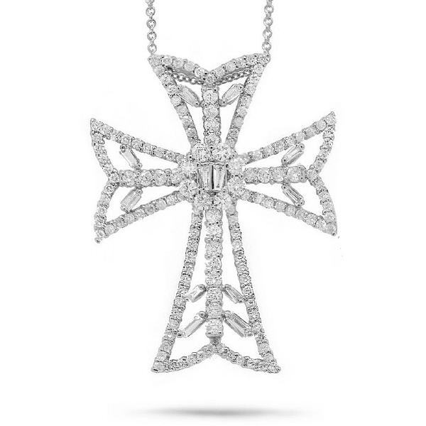 2.34ct 18k White Gold Diamond Cross Pendant Necklace