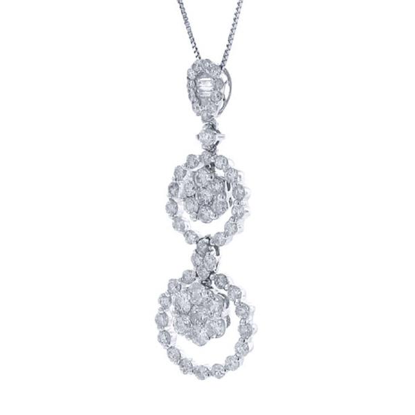 1.64ct 18k White Gold Diamond Pendant Necklace