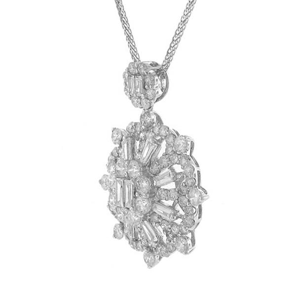 2.58ct 18k White Gold Diamond Pendant Necklace