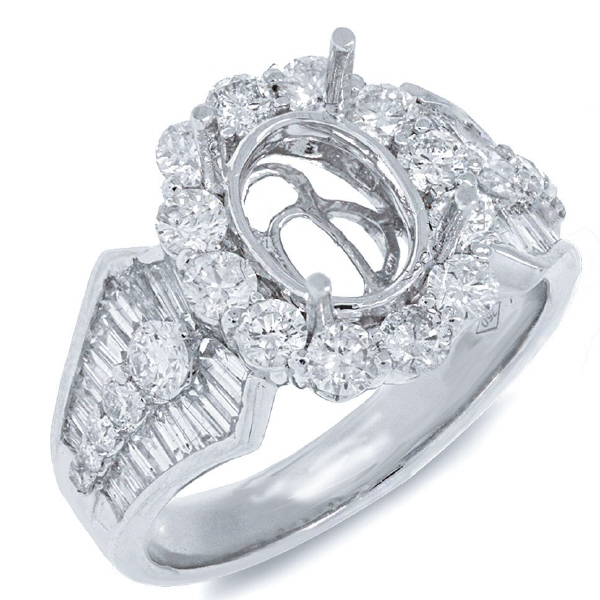 1.78ct 18k White Gold Diamond Semi-mount Ring