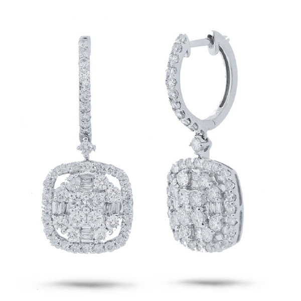 2.14ct 18k White Gold Diamond Earrings