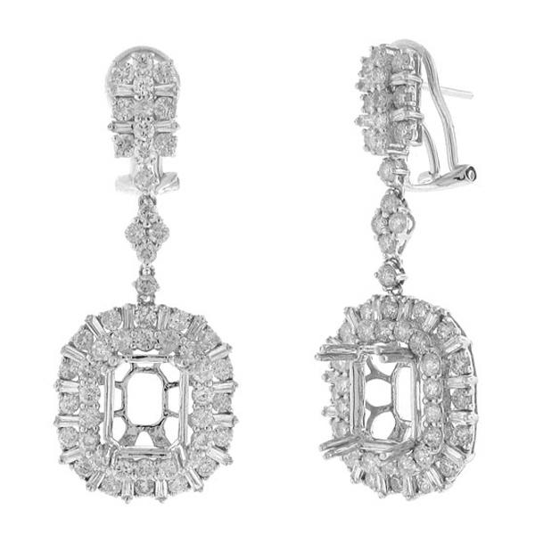 4.21ct 18k White Gold Diamond Semi-mount Earrings