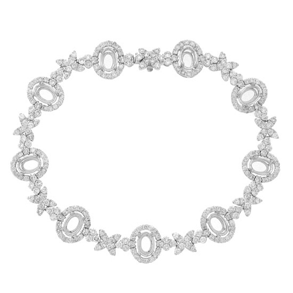5.34ct 18k White Gold Diamond Semi-mount Bracelet