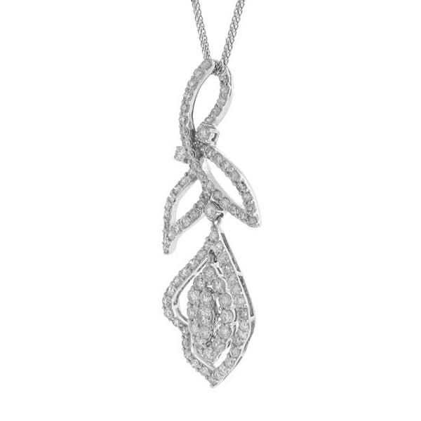 1.92ct 18k White Gold Diamond Pendant Necklace