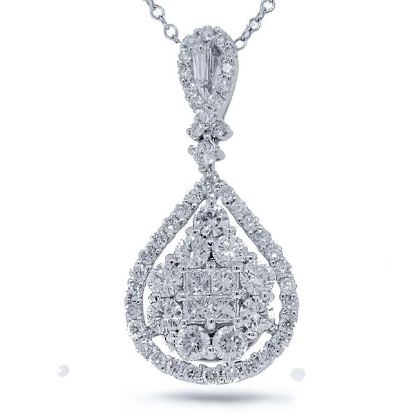 1.77ct 18k White Gold Diamond Pendant Necklace