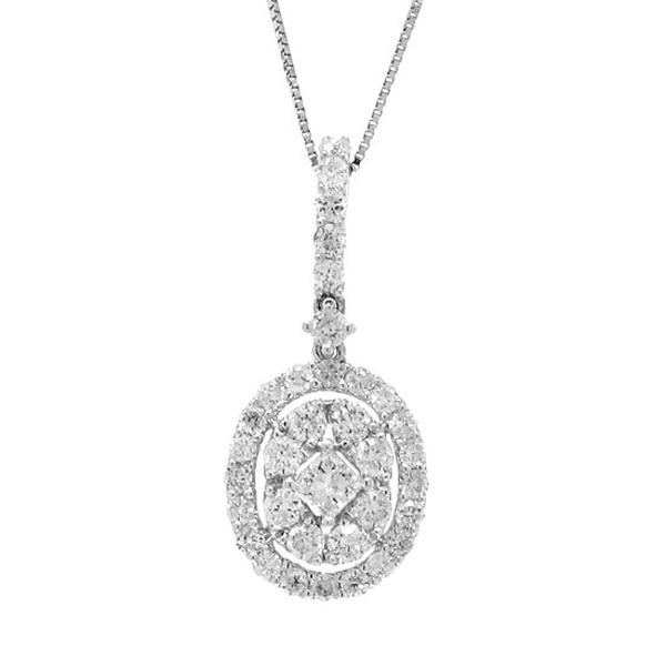 0.87ct 18k White Gold Diamond Pendant Necklace