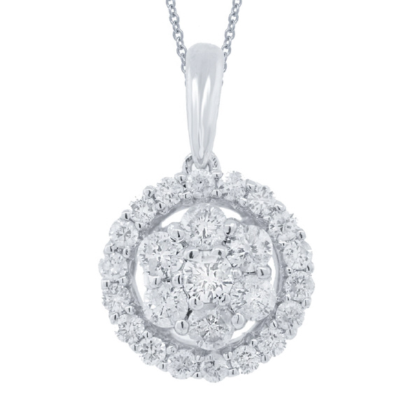 0.43ct 18k White Gold Diamond Cluster Pendant Necklace