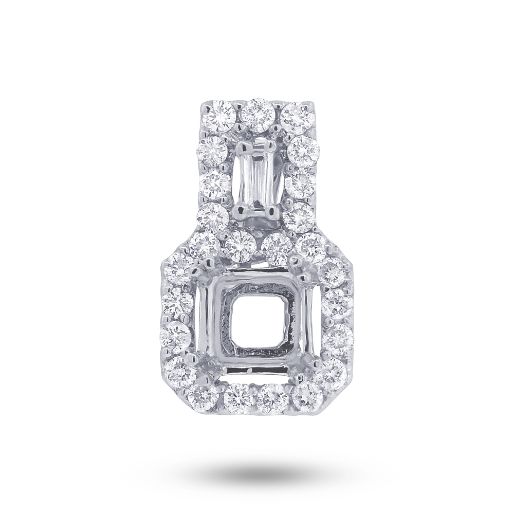 0.32ct 18k White Gold Diamond Semi-mount Pendant Necklace