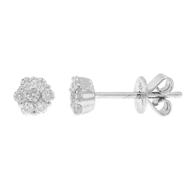 0.24ct 18k White Gold Diamond Cluster Stud Earrings