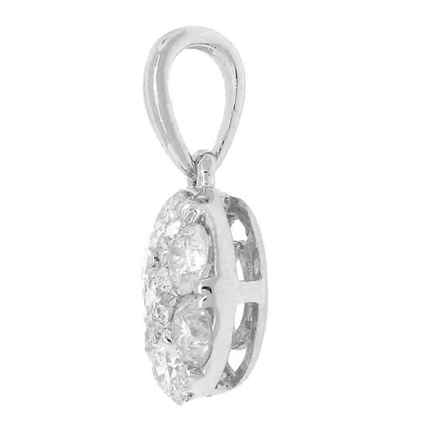 0.47ct 14k White Gold Diamond Cluster Stud Pendant Necklace