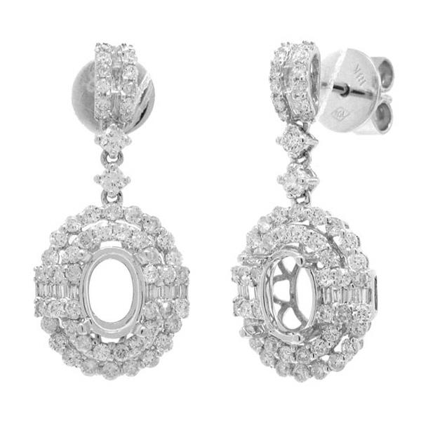 1.24ct 18k White Gold Diamond Semi-mount Earrings