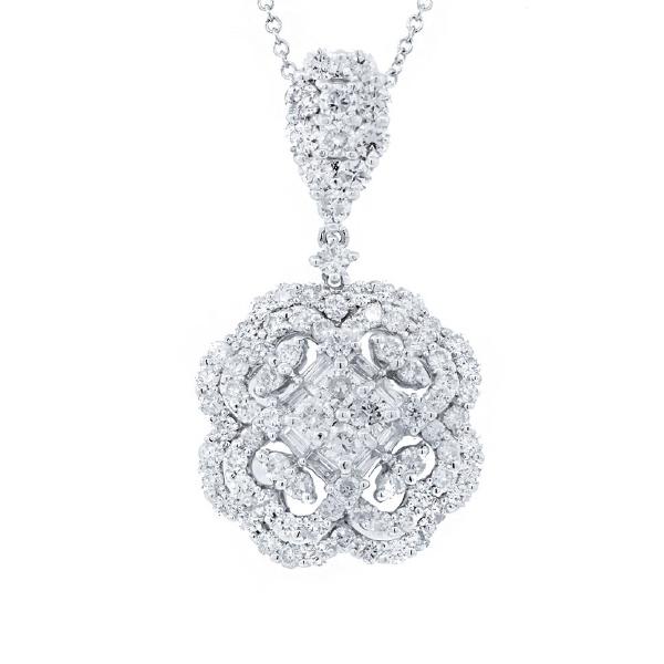 1.97ct 18k White Gold Diamond Pendant Necklace