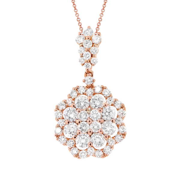 1.54ct 18k Rose Gold Diamond Pendant Necklace