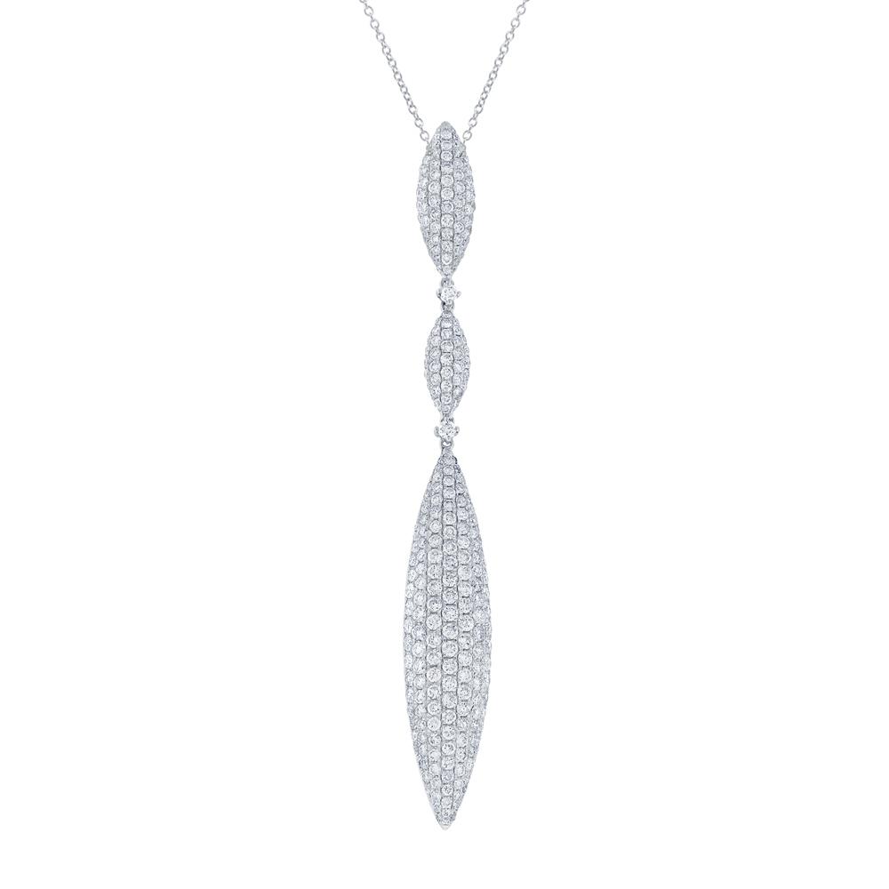 3.70ct 18k White Gold Diamond Pave Pendant Necklace