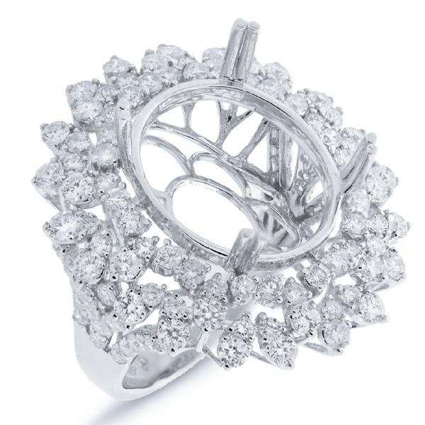 2.98ct 18k White Gold Diamond Semi-mount Ring