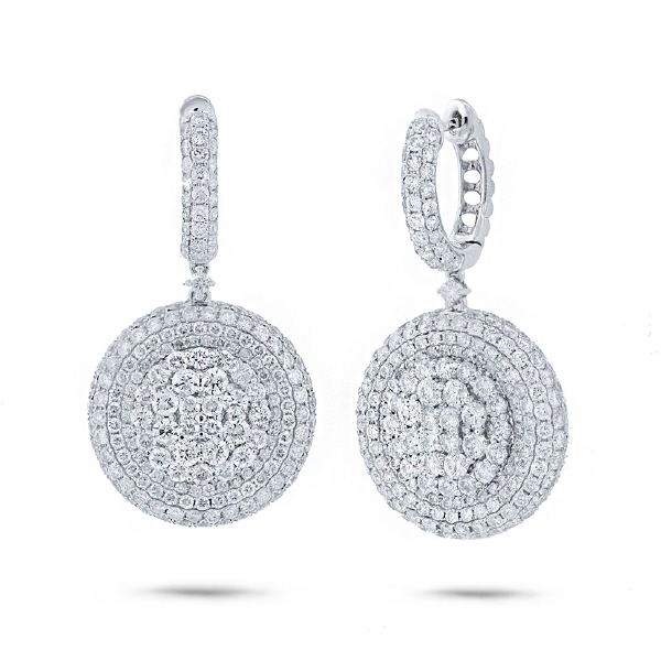 7.43ct 18k White Gold Diamond Pave Earrings