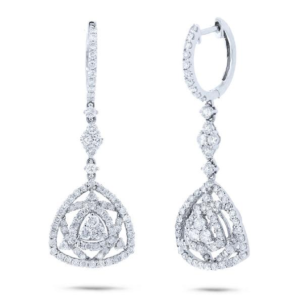 2.11ct 18k White Gold Diamond Earrings