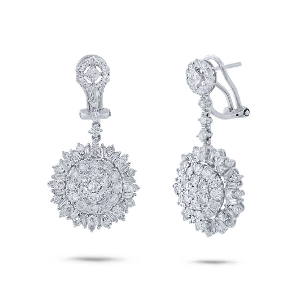 3.65ct 18k White Gold Diamond Earrings