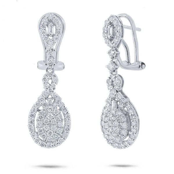 1.46ct 18k White Gold Diamond Earrings