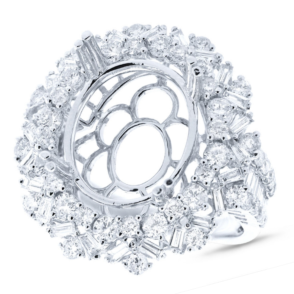 2.24ct 18k White Gold Diamond Semi-mount Ring