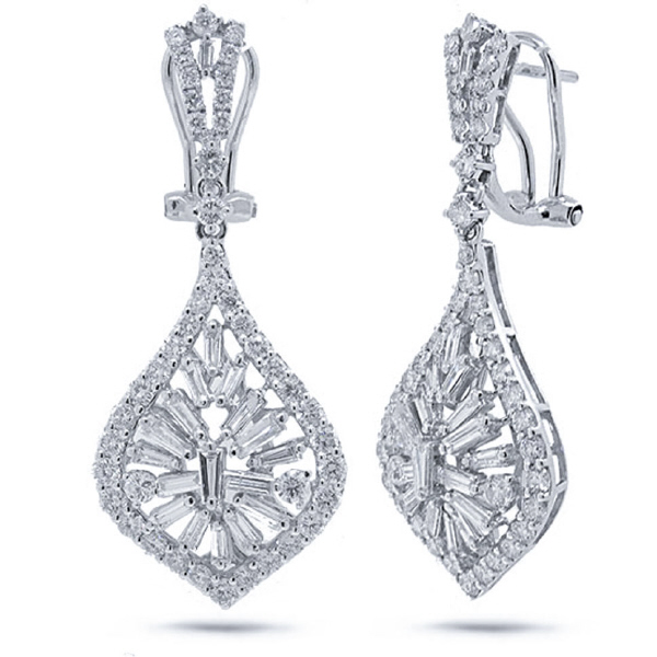2.96ct 18k White Gold Diamond Earrings