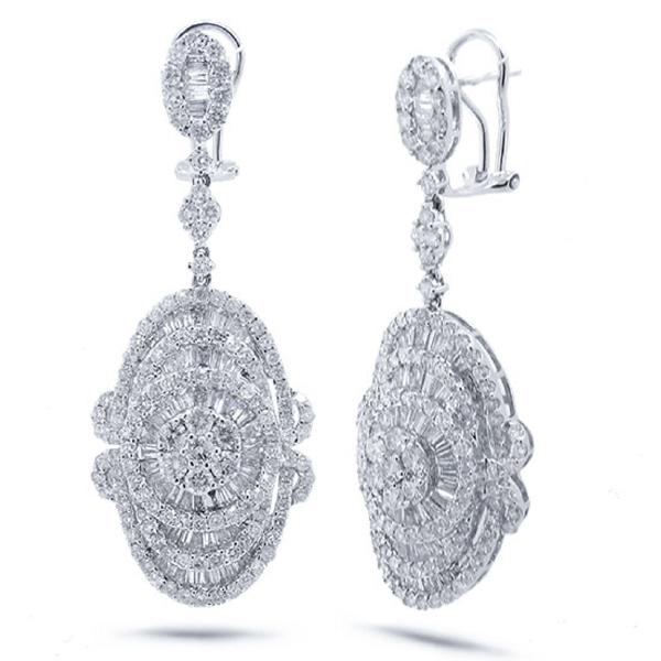 6.90ct 18k White Gold Diamond Earrings