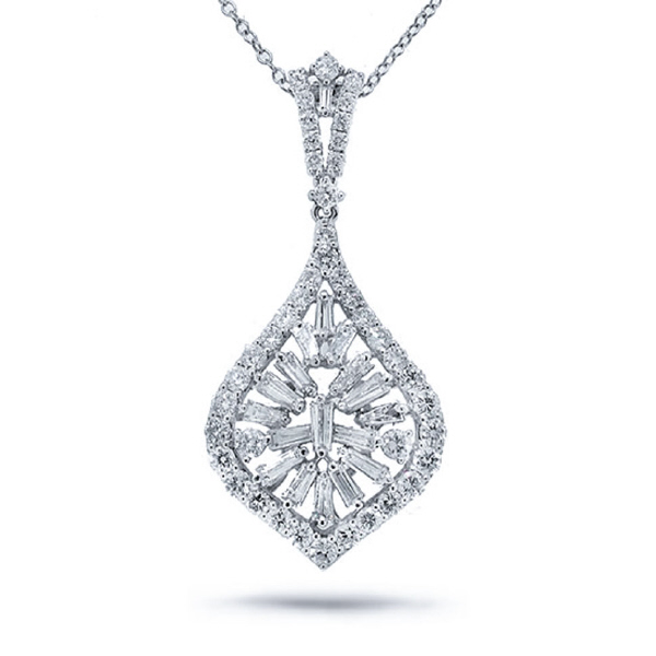 2.40ct 18k White Gold Diamond Pendant Necklace