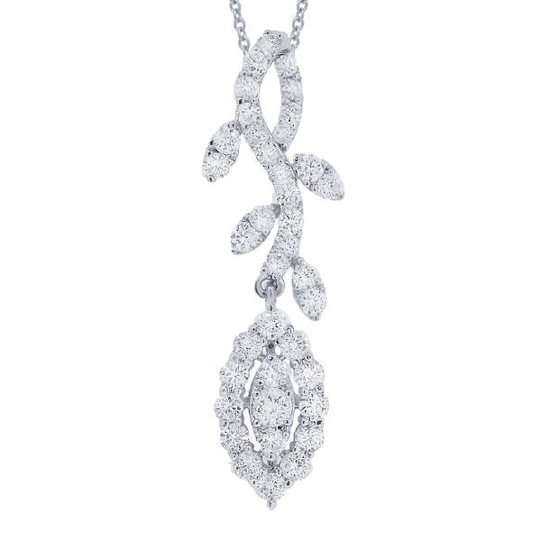 1.00ct 18k White Gold Diamond Pendant Necklace
