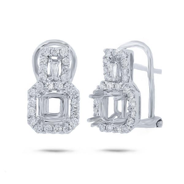0.56ct 18k White Gold Diamond Semi-mount Earrings