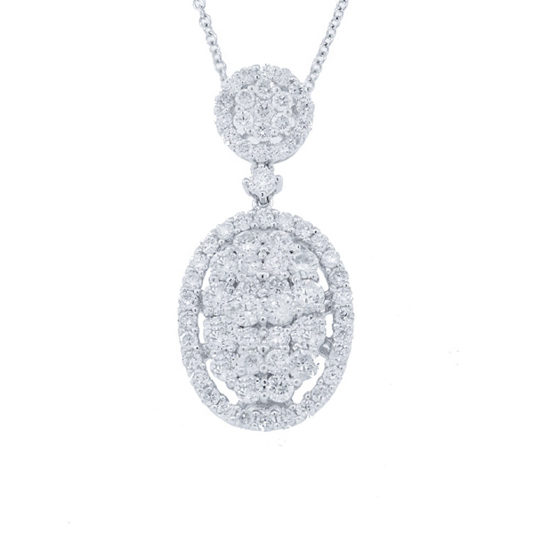 1.50ct 18k White Gold Diamond Pendant Necklace
