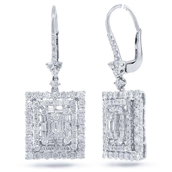 2.99ct 18k White Gold Diamond Earrings