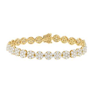 8.26ct 18k Yellow Gold Diamond Cluster Lady's Bracelet