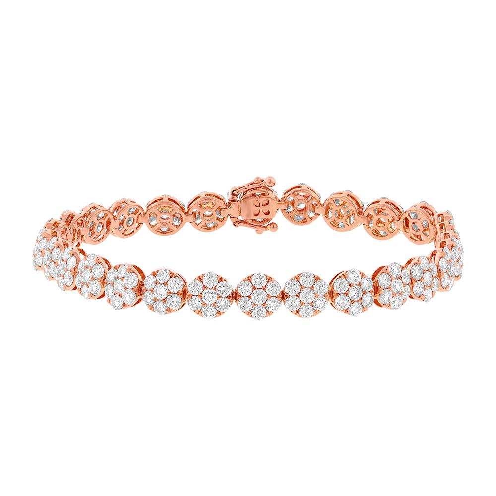 8.26ct 18k Rose Gold Diamond Cluster Lady's Bracelet