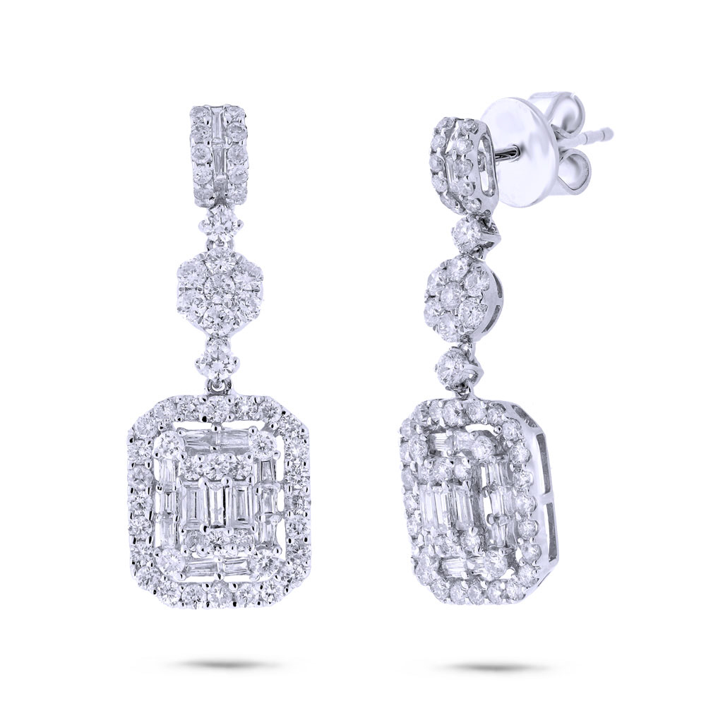 1.87ct 18k White Gold Diamond Earrings