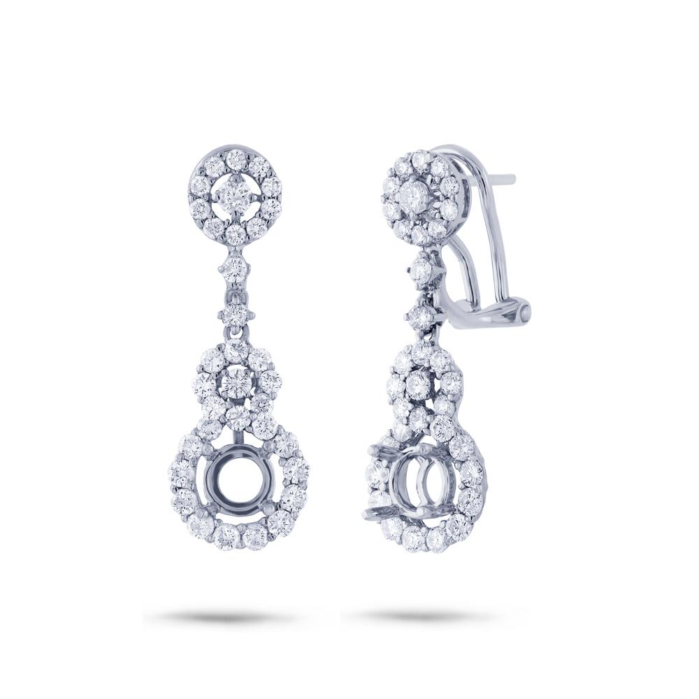 1.60ct 18k White Gold Diamond Semi-mount Earrings