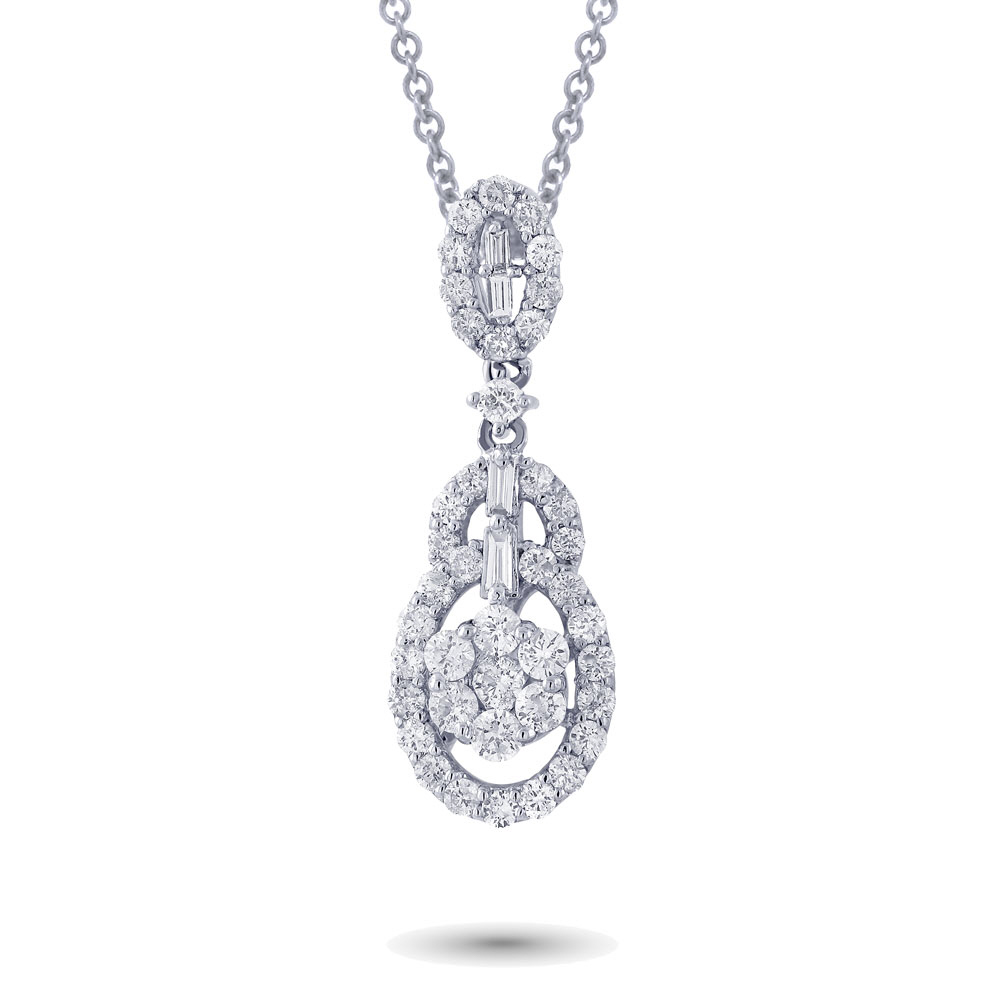 0.84ct 18k White Gold Diamond Pendant Necklace