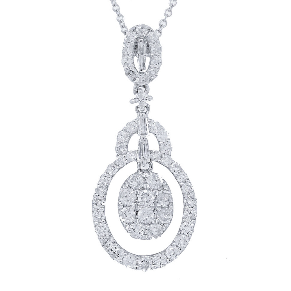 1.20ct 18k White Gold Diamond Pendant Necklace