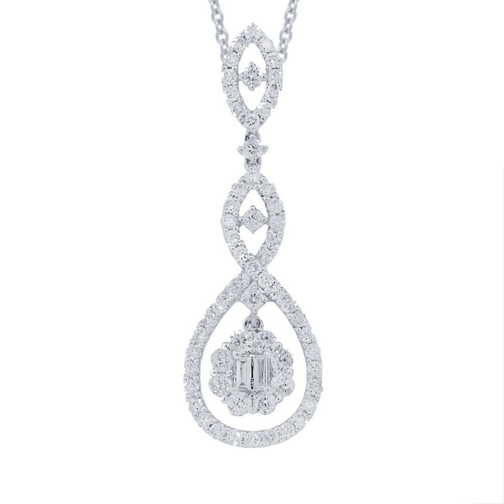 1.35ct 18k White Gold Diamond Pendant Necklace