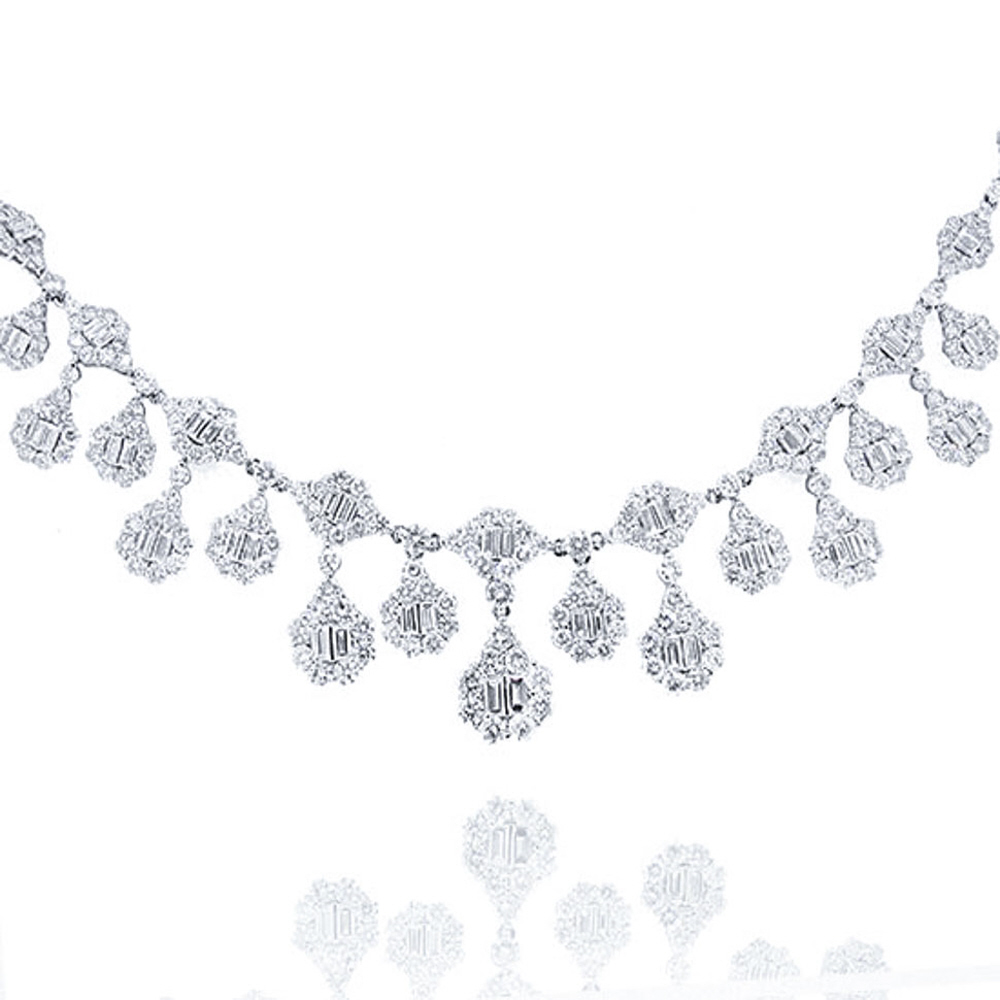 18.30ct 18k White Gold Diamond Necklace