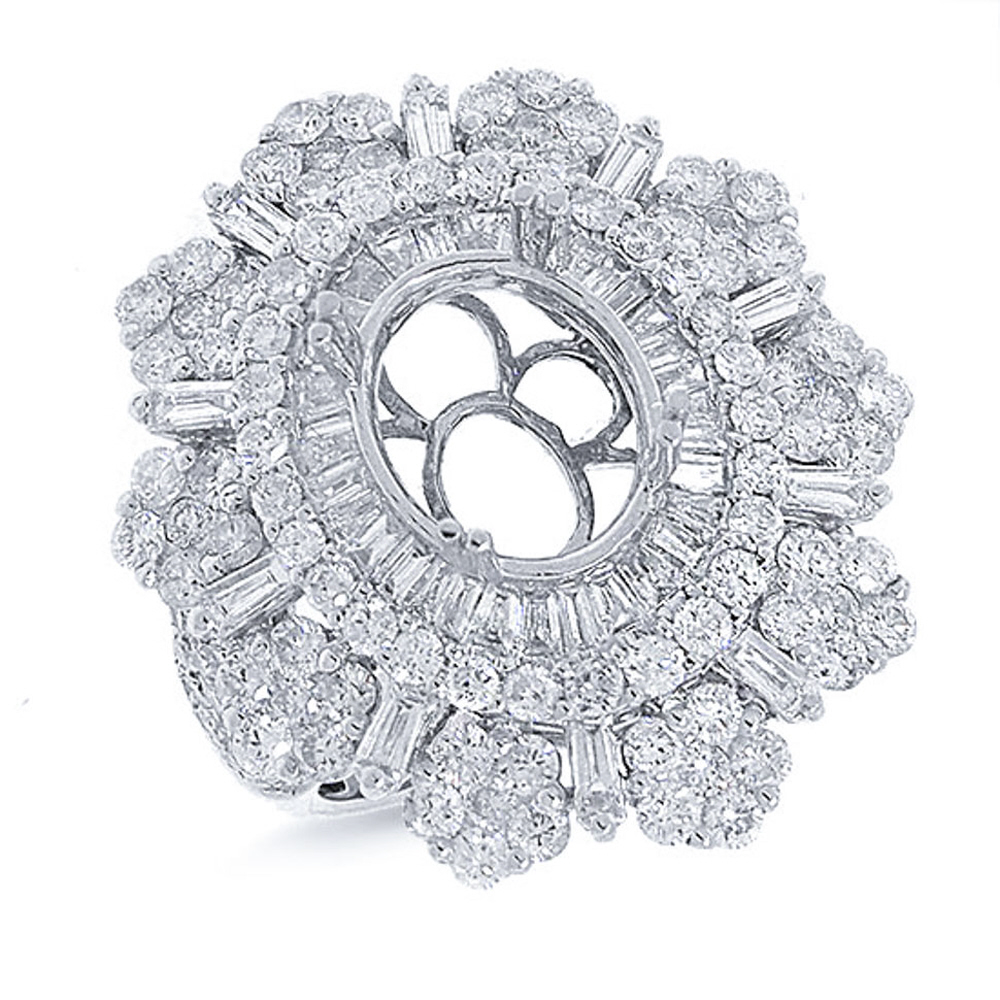 3.70ct 18k White Gold Diamond Semi-mount Ring
