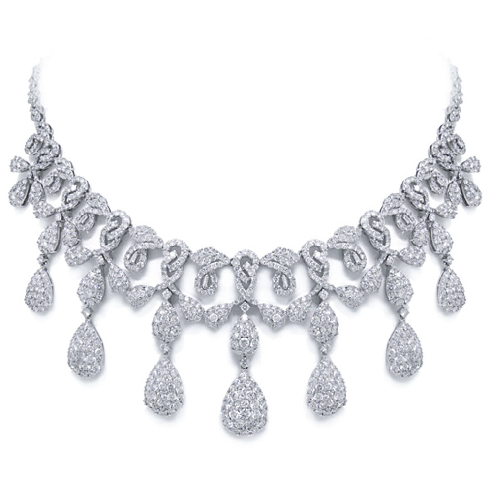 25.45ct 18k White Gold Diamond Necklace