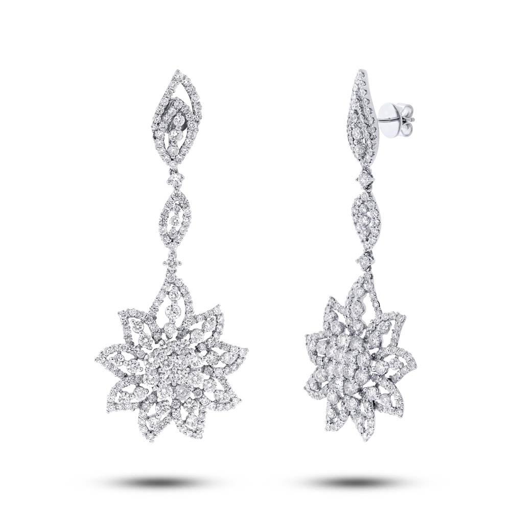 9.07ct 18k White Gold Diamond Flower Earrings