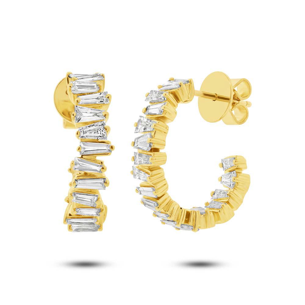 1.52ct 14k Yellow Gold Diamond Baguette Hoop Earrings