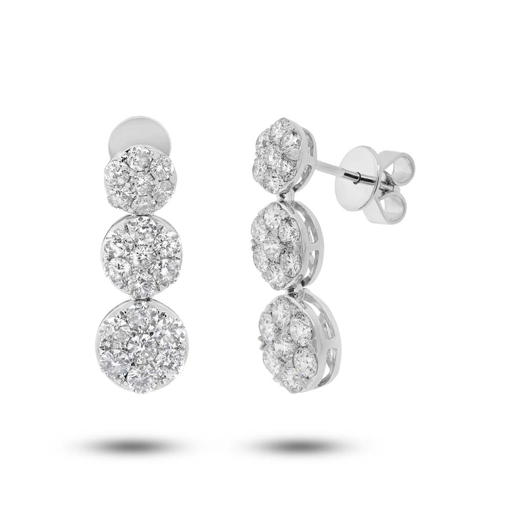 2.39ct 18k White Gold Diamond Cluster Earrings